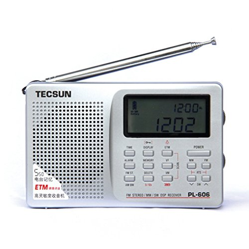 TECSUN PL-606 Digital PLL Portable Radio FM Stereo/LW/SW/MW DSP Shortwave Radio with Alarm Clock and External Antenna (Silver)