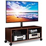 Rfiver Swivel Wood TV Stand on Wheels with Mount for...