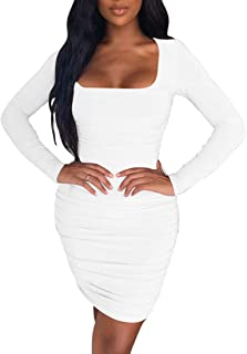 Kaximil Women's Sexy Bodycon Ruched Mini Club Dress Long Sleeve Basic Casual Dresses
