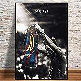 CAPTIVATE HEART Impresión en Lienzo 50x70cm sin Marco Barcelona FC Football Sport Super Star Lionel Messi Lift Jersey Retro Poster Prints Soccer Player Room Dormitorio WAL Art Picture Home1