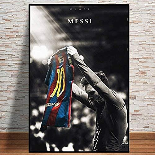 CAPTIVATE HEART Impresión en Lienzo 40x60cm sin Marco Barcelona FC Fútbol Deporte Super Star Lionel Messi Lift Jersey Retro Poster Prints Soccer Player Room Dormitorio WAL Art Picture Home1