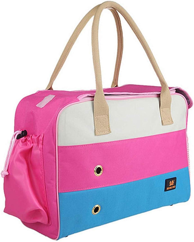Cat Carrier Bag Breathable Dog Bag Shoulder Carring Bags Strong Foldable Pet Travel Bag Pink Green Pink L 45x18x30cm