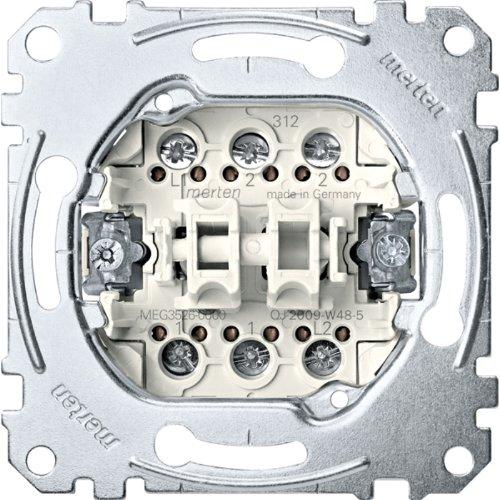 Merten MEG3526-0000 Doppelwechselschalter-Einsatz, 1-polig, 16 AX, AC 250 V, Schraub-Liftklemmen