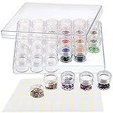 30 rejillas de pintura de diamante caja de almacenamiento/recipiente con la etiqueta engomada del marcador de la etiqueta del arte para joyas pendientes abalorios collar de exhibición de accesorios