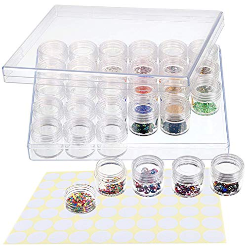 Aufbewahrungsbox Transparente Vorratsbehälter, 30 Gitter Diamant Painting Lagerung Box/Schmuckkästchen/Aufbewahrungsbox mit Marker Aufkleber für Schmuck Ohrringe Perlen Halskette Case Accessory