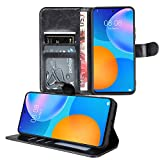 Gadget Giant Leather Phone Case For Huawei P Smart 2021 Case Folio Wallet Cover Pouch with Photo ID Card Slot - Black