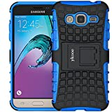 ykooe Phone Case for Samsung Galaxy J3 2016 Dual Layer Silicone Protective Cover with Stand for Samsung Galaxy J3 2016/Express Prime/Amp Prime - Blue