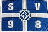 Flagge SV Darmstadt 98 Kreuz - 60 x 90 cm + gratis Aufkleber, Flaggenfritze®