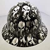 Wet Works Imaging Customized Pyramex Full Brim Hard HAT with Ratcheting Suspension Hydro Dipped in White Punisher Construction PPE