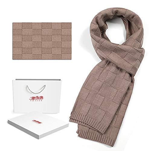 GWLTV Herbst Schals Winter Outdoor Winddichtes Warm Knit Plaid Männer beiläufige Imitation Nerz Samt Schal,Lightcoffee