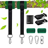 AIWEILUCK Tree Swing Straps 20 FT Extra Long with Tree Protector Sleeves, 2 Pack, Holds up to 5000 pounds, Heavy Duty, Stainless Steel Carabiners with Safety Lock, Great for Hammock, and Swing