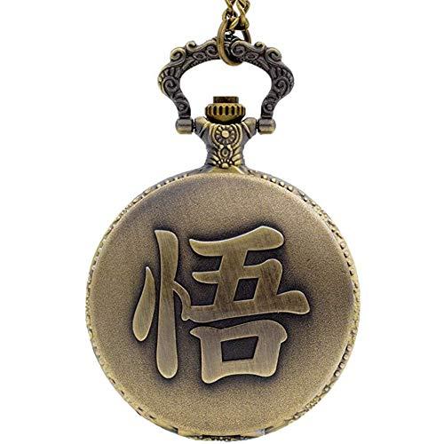 Reloj De Bolsillo Retro Palabra China WU De La Cadena Son Goku De Dragon Ball Colgante De Cuarzo Reloj De Bolsillo Analógico para Mujer para Hombre Mira El Regalo Collar