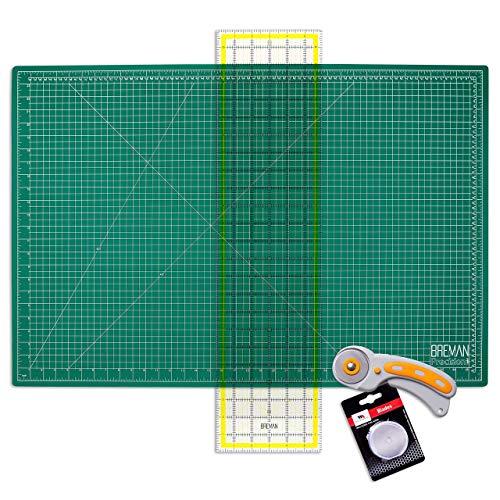 WA Portman Cutting Mat & Rotary Cutter Kit - 45mm Rotary Cutter & 5 Extra Blades - 24x36 Inch Cutting Mat for Sewing - 6x24 Inch Acrylic Sewing Ruler - Ideal Quilting Supplies