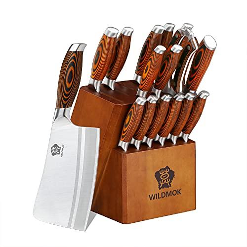 WILDMOK Juego de cuchillos con bloque de madera, cuchillo de carne, cuchillo de carne y tijeras, 17 piezas