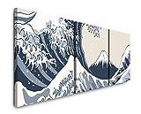 EAUZONE GmbH Japanisches Gemälde 220 x 70cm - 3 Bilder je 70x70cm Bild XXL Panorama Deko Wandbilder auf Leinwand