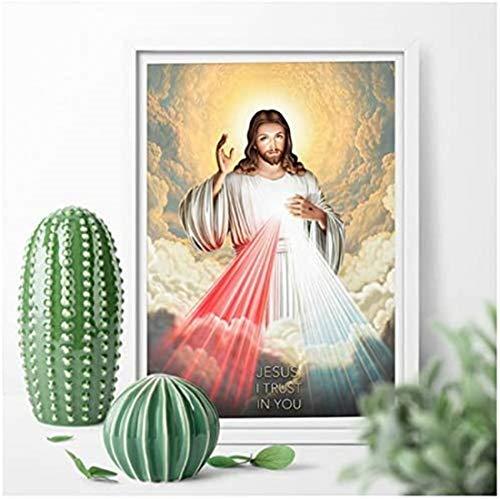 Pintura en lienzo Sagrado Corazón de Jesucristo y el Señor Dios Arte de la pared Impresión de arte Póster Decoración para el hogar Imagen Print-50x70cm Sin marco