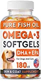 Omega 3 Fish Oil Pills for Dogs - No Fishy Smell Softgels - EPA + DHA Fatty Acids Reduce Shedding & Itching - Supports Joints, Brain, Heart and Overall Health - EPA & DHA Fatty Acids - USA - 180 Ct
