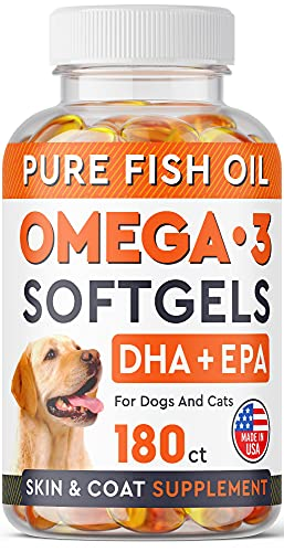 Omega 3 Fish Oil Pills for Dogs - No Fishy Smell Softgels - EPA + DHA Fatty Acids Reduce Shedding & Itching - Supports Joints  Brain  Heart and Overall Health - EPA & DHA Fatty Acids - USA - 180 Ct
