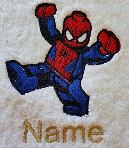 EFY Peignoir à capuche pour enfant avec logo LEGO et nom de votre choix Bleu roi 2 4 6 8 10 12 ans