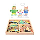 WFF Juguetes de los niños Jigsaw Puzzle Magnético Vestir Juego Durante 36 Meses y hasta los niños pequeños for niños, Juguetes de Madera educativos con 36 Formas (Color : 1 Set)