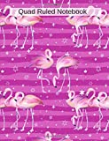Quad Ruled Notebook: Flamingo Notebook Graph Paper Journal - Soft pink purple cover - Back To School Quad Ruled 4 x 4 Grid Paper for Science and Math Students 7.44' x 9.69' 100 pages - 200 sheets
