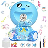 BENOKER Bubble Machine,Automatic Cute Bubble Blower for Kids Protable Bubble Maker Machine for Parties Outdoor & Indoor with 1000+ Bubbles per Minute (2 Solution Included) (Blue)