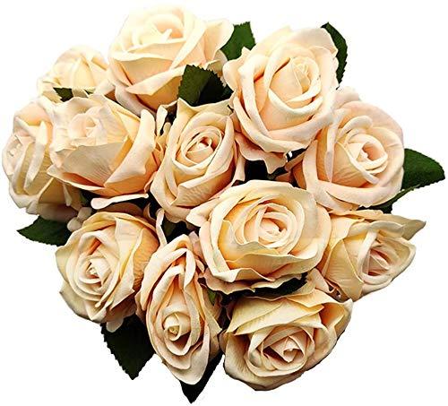 JLJL 12PCS Artificial Rose Silk Flower Blossom Bride Bouquet Artificial Roses with Stems for Home Wedding Decoration (A)