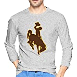 wangjian Wyoming Cowboys Men's Long Sleeve T-Shirt Cotton Comfortable Casual Fashion Personality Gray