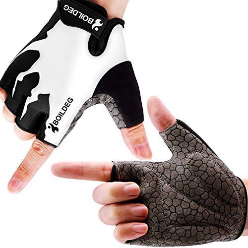 boildeg Guantes de Ciclismo de Bicicleta Guantes de Bicicleta de Carretera de Medio-Dedo para Hombres Mujeres Acolchado Antideslizante Transpirable (Blanco, M)