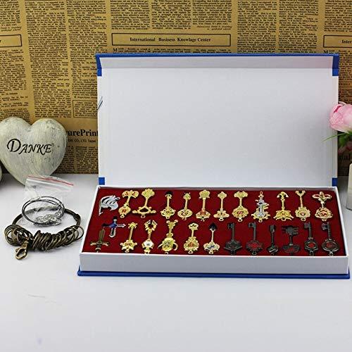 25 pz/set Fairy Tail Lucy Cosplay Portachiavi Scala & Free Pink Tattoo Heartfilia segno zodiacale Chiave d'oro, 25 pezzi con scatola