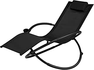 Goplus Outdoor Orbital Lounger Zero Gravity Chaise Foldable Rocking Chair w/Removable Pillow & Cup Holder Portable Chair for Camping, Fishing, Beach, Patio, 400-lb Support (Black)