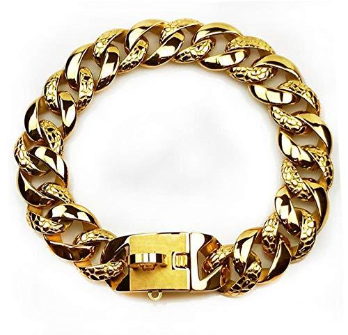 Arneses de Seguridad Collar de Perro Grande de Acero Inoxidable de 32 mm Correa Cadena de Oro Bulldog Pitbull Collar de 32 mm_XS 32mmX35cm