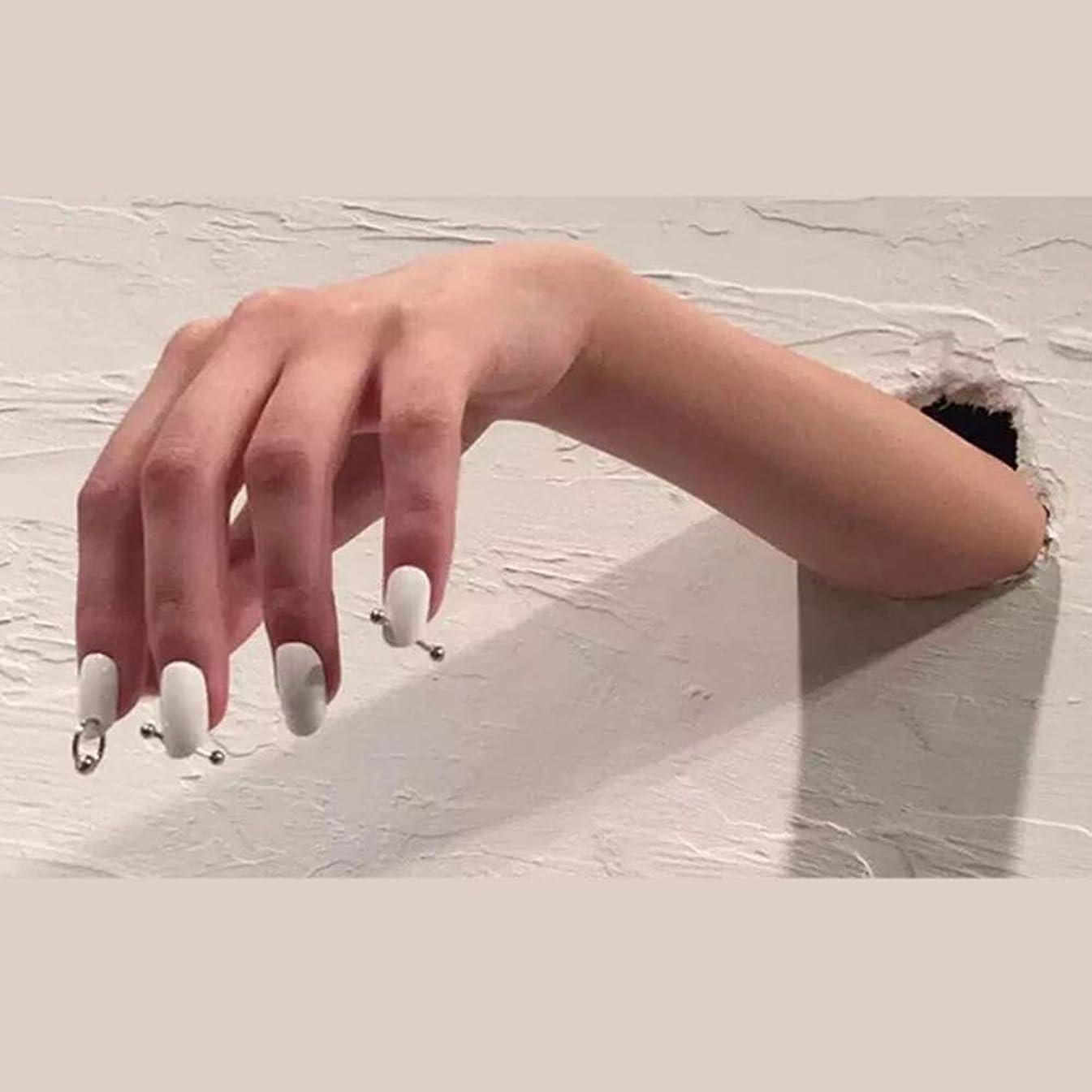 徒歩で仕えるモチーフXUTXZKA スリヴァーリング偽爪偽爪24ピース女性フルネイルチップと白の純粋な色