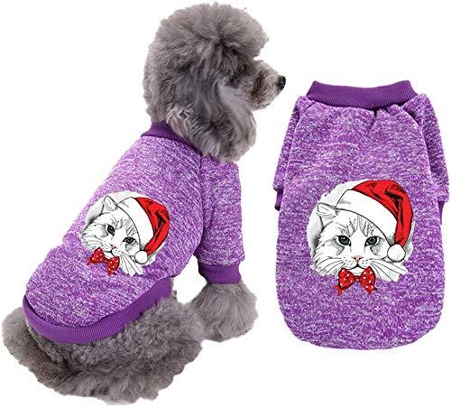 HAPPKING Hund Weihnachtspullover Schneemann Weihnachten Hund Urlaub Shirt für Welpen Weihnachten Haustier Kleidung für kleinen Hund und Katze (Farbe : Lila, Größe : M)
