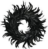 "19"" Black Cocktail Feather Wreath - Front Door Wreath - Black Wreath - Mantel Wreath - Home Decor"