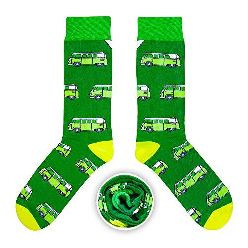 CUP OF SOX Herren Damen Lustige Socken mit Bulli in der Pappbecher - Gemusterte Bunte Geschenk Socken für VW Bus T1 Liebhaber - Socken aus hochwertige Baumwolle (Grün, 37-40)