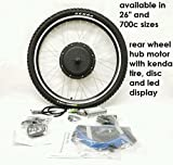 Pedalease 48V 1000W Electric Bike Rear Wheel Conversion KIT 26' with Disc and LED (Wheel Size: 26')