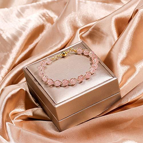 PPuujia Pulsera de cristal multicolor natural turmalina ojo de tigre pulseras de cristal para mujeres y niñas, color dorado, joyería de moda (color de metal: cristal de fresa)