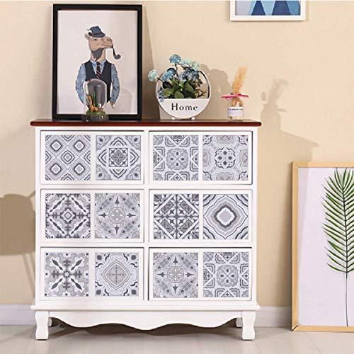 JTOOYS Pegatinas autoadhesivas para azulejos de pared, 10 unidades, color gris, resistentes al agua y al aceite, 20 x 20 cm, estilo retro, para decoración de azulejos de salón, cocina, baño