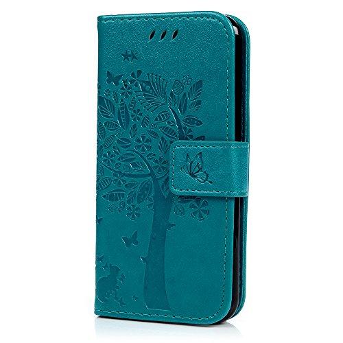 YOKIRIN iPhone 6 Hülle, iPhone 6S Hülle (11,9 cm), Brieftaschen-Hülle aus weichem PU-Leder mit Baum-Prägung, mit Ständer-Funktion, Kartenhalter & ID-Slot, schmal, Flip-Schutzhülle, Blau
