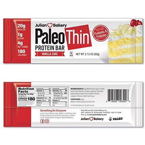 Julian Bakery Paleo Thin Protein Bar | Vanilla Cake | Egg White Protein | 20g Protein | 4 Net Carbs | Gluten-Free | 12 Bars