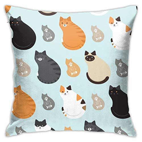 87569dwdsdwd Cute Cat3. Square Pillow Case Home Sofa Decorative 18' X 18'Inch Ultra Soft Comfortable
