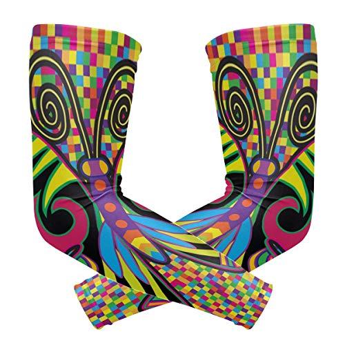 LUPINZ Armmanschette mit farbigen Schmetterlingen im Hippie-Stil, Kompressionsstrümpfe, UV-Schutz, Kühlung, Sonnenschutz, für Outdoor-Sportarten, 1 Paar