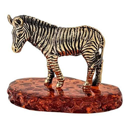 Russische Souvenirs Bernstein Messing Zebra Figur Original von Kaliningrad