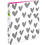 AVERY + Amy Tangerine Designer Collection Binder, 1'Round Rings, 175-Sheet Capacity, Hatch mark Hearts (28320)