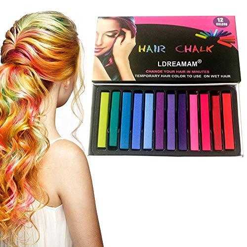 Haarkreide,12 Farben Temporäre Haarkreide Set Auswaschbare und ungiftige Haarstifte Haarfarbe für Kinder und Teenager Geeignet für Karneval, Party, Weihnachten Halloween Geburtstag…