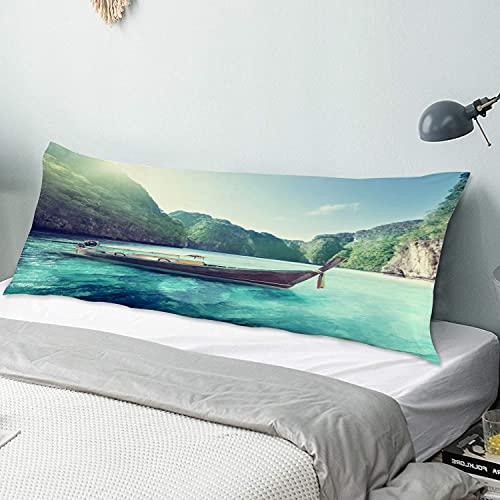 Funda de Almohada para el Cuerpo,Phi Phi Island Bay, Hotel en Tailandia,Funda de cojín Larga con Cremalleras para sofá de Dormitorio en casa (20x54 Pulgadas)