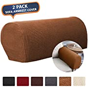 CAVEEN Armrest Cover Stretch Fabric Armrest Covers Anti-Slip Furniture Protector Armchair Slipcovers for Recliner Sofa Spandex Jacquard Couch Armrest Protector Set of 2 Light Coffee Plaid Pattern