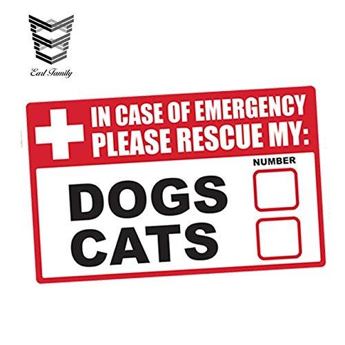 FAFPAY Autoaufkleber 13 cm x 8,3 cm Auto Styling Notfall Haustier Rettungshunde Katzen Vinyl Aufkleber Ersthelfer Brandschutz Stoßstange ZubehörStyle A