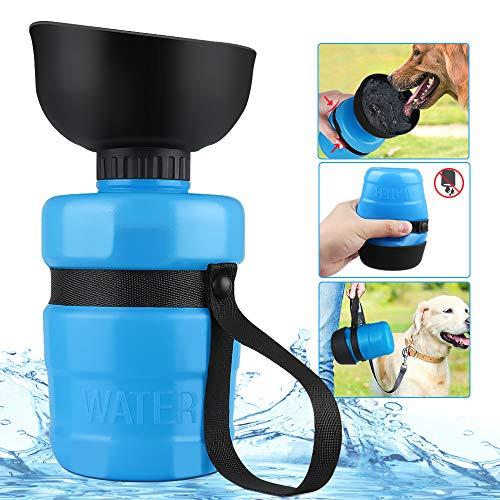 OUTOPE Hund Wasserflasche 550ml Haustier Katze Travel Trinkflasche Tragbare Reise Trinkflasche Wasserspender für Camping, Spaziergang, Wandern, Training, Unterwegs Outdoor (Blau)